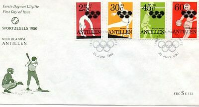 Netherlands Antilles  B174-77  First Day Cover  1980  22nd Olympic Games, Moscow