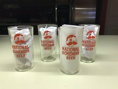 Old Vtg 1950's Clear National Bohemian Beer Drinking Glass LOT Red Decal