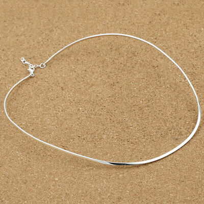 S925 pure silver jewelry plain silver polished simple lady blade chain necklace