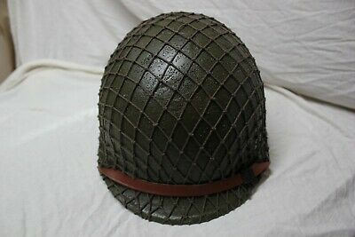 US Military Issue WWII WW2 M1 Helmet with Liner and Net Cover Complete AA4