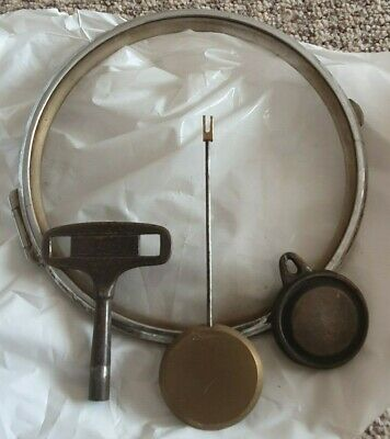 Clock key 2 x Pendulums and clock glass for spares or repair