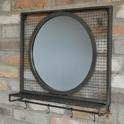 Mirror With Shelf & Hooks Industrial Wall Mounted Shelving Display Storage Unit