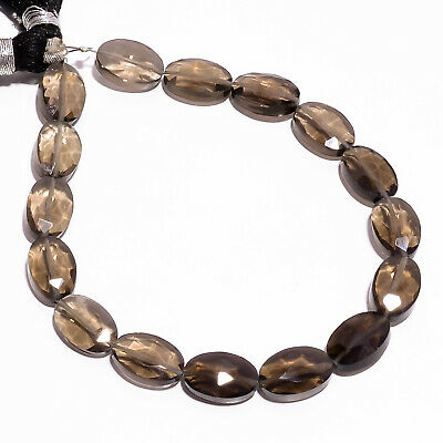 """55.75 Ct Natural Smoky Quartz Gemstone Oval Faceted Beads Strand 11 mm 7"""" PB2796"""