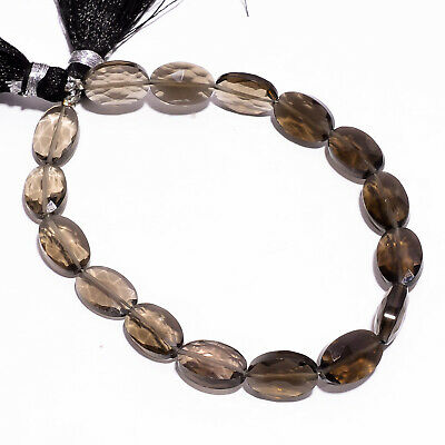 """53.25 Ct Natural Smoky Quartz Gemstone Oval Faceted Beads Strand 11 mm 7"""" PB2790"""