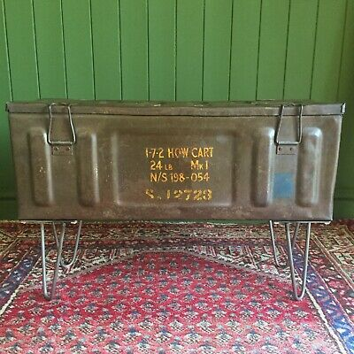 VINTAGE Military CHEST Old Munitions TRUNK Industrial Metal BOX TV Stand TABLE