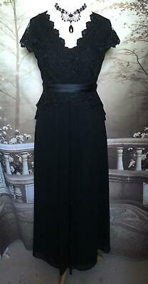 Jacques Vert Ballgown/Dress Size 12/14 Black Beaded Lace/Chiffon Formal Evening