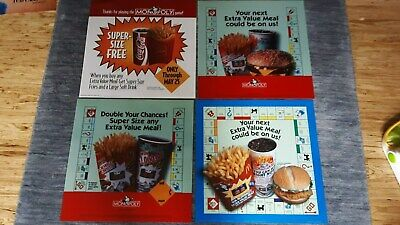 4 Vintage Adv.Translites for McDonald's MONOPOLY SUPER-SIZE/Extra Value Meal