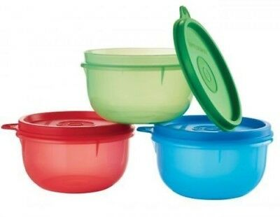 Tupperware 3 - 8oz Ideal Little Bowls Snacks Child Baby Portion Green Red Blue