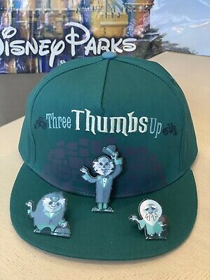 Disney Parks Haunted Mansion Hitchhiking Ghost Three Thumbs Up Hat Cap Adult New