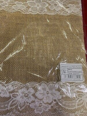 Hessian & Lace Table Runner 30 X 275cm