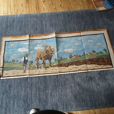Lge 55 x 150cm Vtg German Rug Hooking Printed Canvas Pattern/Design SEE PICTURE
