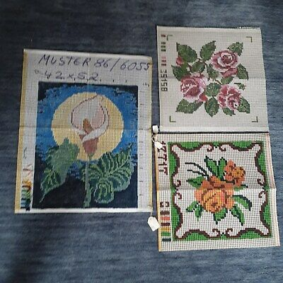 3 Vtg German Rug Hooking Printed Canvas Floral Patterns/Designs SEE PICTURE