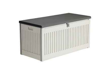 Large Grey Utility Storage Box Container - Outdoor Garden Patio Shed Lockable