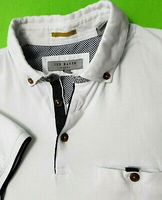 Ted Baker London Mens Polo Shirt Top Size 3 S White