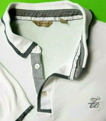 Ted Baker Mens Polo Shirt Top Size 5 L White Grey