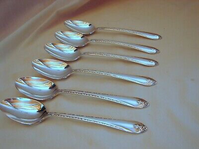 6 Old Wm Rogers Silver Exquisite Soup Spoons, Excellent Condition, 7-3/8in, 1940
