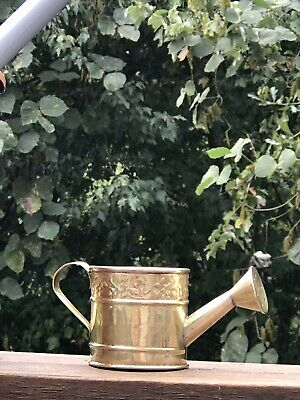 """One HOSELY Solid Brass Watering Can Miniature 5"""" Polished Ornate Floral India"""