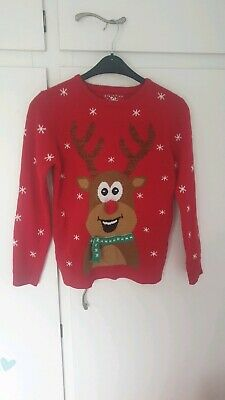 Boys Or Girls 13-14 Years Primark Red Rudolph Christmas Jumper
