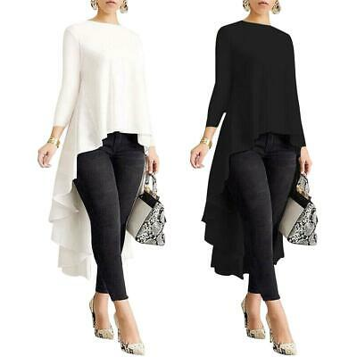 Women Long Sleeve Asymmetrical Waterfall Shirt Tops High Low Plus Blouse Clothes