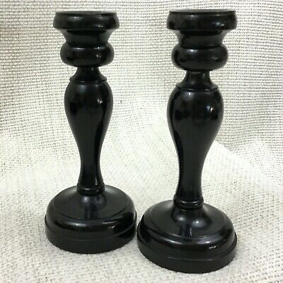 Pair of Antique Wooden Candlesticks Turned Ebony Wood Victorian 19th Century