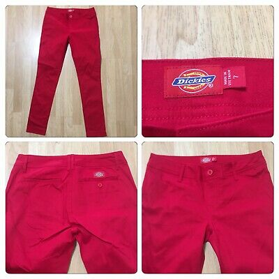 """DICKIES Size 7 NWOT Chino Red Pants JERRY LEIGH Inseam 29"""" Spandex 3%"""