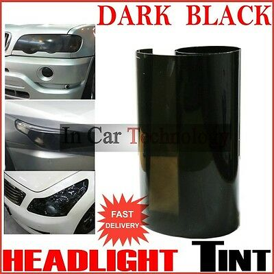 Extra Wide 10m DARK BLACK Vehicle Headlight Tail Light Tint Protection Wrap Film