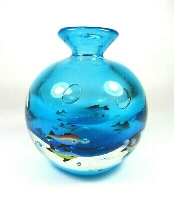 Vintage Murano Art Glass Fish Aquarium Round Paperweight Vase ~ Italy