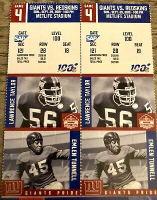 NY GIANTS vs REDSKINS  * 2 Tickets * Lower Level 100