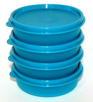 Tupperware Bowls Set of 4 Little Wonders 6 oz. Snack Cups Peacock Blue