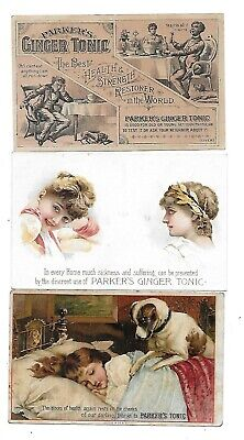 SET of 3 PARKER'S GINGER TONIC 1890'S  VICTORIAN TRADE CARDS