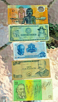 Foreign Currency LOT (5) Different Notes Australia Hologram Peru Bolivia Norway