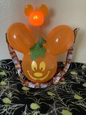 NEW Disney Parks 2019 Mickey Mouse Halloween Pumpkin Popcorn Bucket And Straw!!