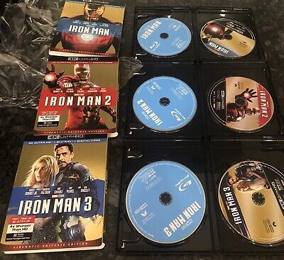 Iron Man Trilogy (4K UHD + Blu-ray) W/Slipcover 1 2 3