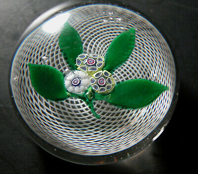 Vintage Antique French St. Louis Art Glass Paperweight Floral