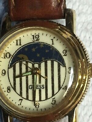Vintage Guess 1992 Watch Gold Tone Leather Water Resistant Japan