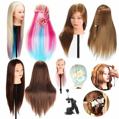 Real Hair Head Practice Hairdressing Training Mannequin Doll Model with Clamp AU