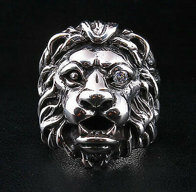 DIAMOND CLEAR EYE LION HEAD HEAVY 925 STERLING SILVER RING Sz 13 MENS BIKER LEO