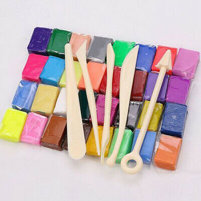 32 Mixed Color Oven Bake Polymer Soft Clay Set Modelling Moulding +5 Tools DIY