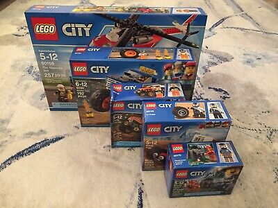 LEGO City Bundle (60108, 60145, 60146, 60170, 60180) New In Box Retired