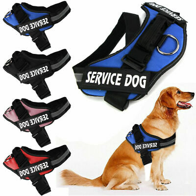 Reflective Service Dog Vest Harness Adjustable Removable Patches Large S-2XL Hot