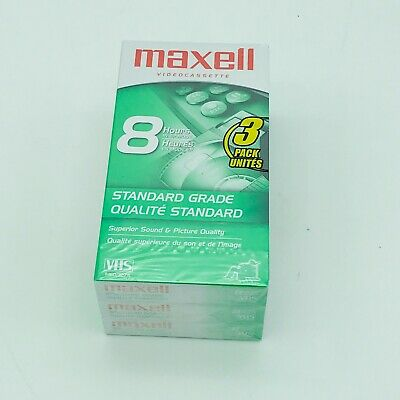 3-PACK NEW Maxell T-160 / 327m 8-hour VHS Tapes Lot (SEALED) FREE SHIPPING