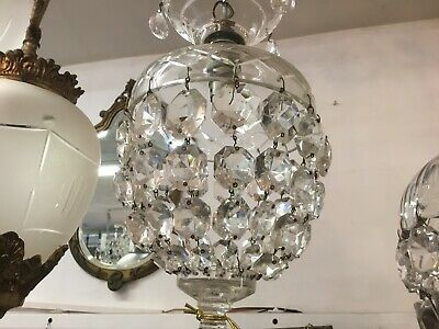 Original Czech Vintage Basket French Empire Dome Small Crystal Chandelier
