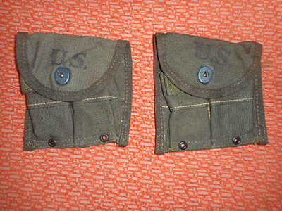 U.s.army:1944 Wwii - X  2 Separate Pouches, Magazine,Double,Web,Carabine,