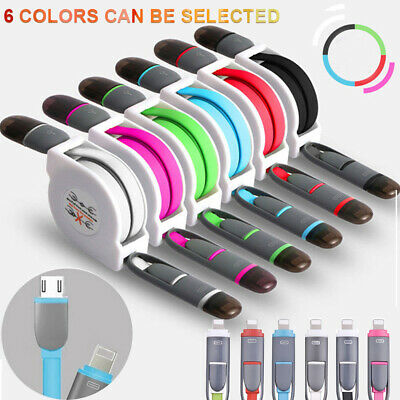Micro USB 2 In 1 Retractable Data Fast Charger Cable For iPhone Samsung Android