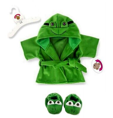 Teddy Bear Clothes fit Build a Bear Teddies Frog Dressing Gown Slippers 3D face