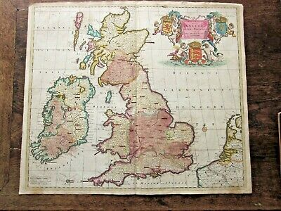 c1690 Theodoris Danckert Angliae England Scotland Wales Ireland Antique Map RARE