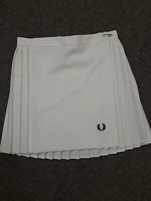 Fred Perry Vintage Tennis Skirt - Size M (12) - White - Pleated