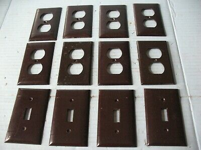 12 Vintage Sierra Electric Brown Outlet & Light Switch Covers
