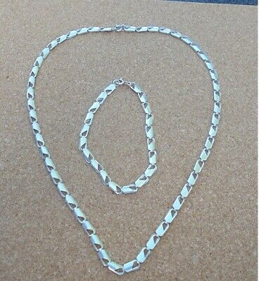 SILVER 925 LOBSTER CLAW LINKS NECKLACE & BRACELET 13grams