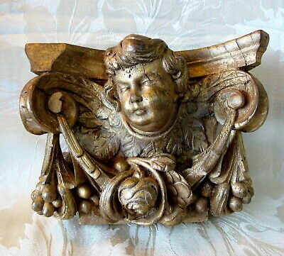 "Carved Antique ""WOOD CHERUB"" Gold Gilt Highlights * Architectural CHURCH Salvage"